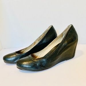 Frye Caron WP Wedge Pump Size 9.5 Black Leather